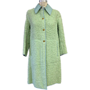 SALE Vintage 1960s seafoam Green Bonnie Cashin boucle and leather coat with turn clasps