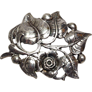 Vintage 1950s Sterling Silver Black Starr & Gorham by Gini flower and leaf brooch pin