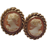 SALE Vintage Esemco 10k Yellow Gold Screw Back real Cameo Earrings
