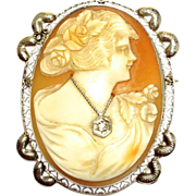 SALE Vintage 14K white gold signed cameo pendant  or pin with diamond necklace