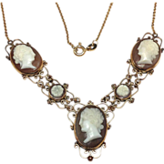 SALE Unique 500 12K solid yellow gold cameo necklace