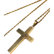 SALE Vintage 14k Yellow Gold Cross Necklace and Chain