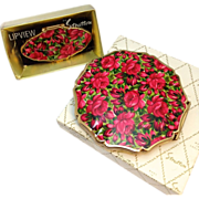 Vintage 1960s Stratton England Rose print makeup compact and matching mirror ring