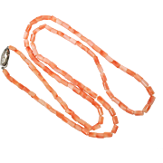 SALE Vintage Coral bead Barrel Cylinder necklace with silver clasp