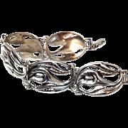 SALE Lovely Vintage Sterling Silver Calla Lillie Danecraft bracelet