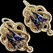 SALE Antique 14K yellow gold blue enamel sterling silver repoussé pierced earrings