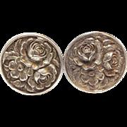 SALE Vintage 1950s sterling silver rose earrings
