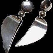 SALE Vintage 1980s Sterling Silver modernist pierced dangling earrings.