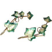 Sterling Enamel stamped Gold Tone Ivy Green leaf drop earrings
