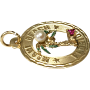 Vintage 14k Gold Miami Florida palm tree charm with green enamel pearl and ruby
