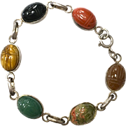 SOLD Vintage 1940s solid sterling silver real carved scarab beetle stone bracelet with tigers