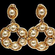 SALE Vintage 1980s St. John gold tone huge faux pearl earrings