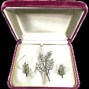 Vintage 1940s Star Art Sterling Silver clear rhinestone leaf brooch and earrings in original b
