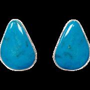 Vintage beautiful signed teardrop turquoise and sterling silver pierced earrings by Bernard Ba