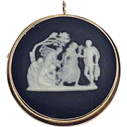 SALE 14k yellow gold black and white Wedgewood jasper cameo pin or pendant