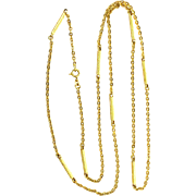 Vintage 1960s solid 18K 750 unusual gold chain 32 inch necklace