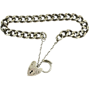 Vintage sterling silver English chain bracelet with heart padlock closure with Makers Mark