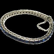 Vintage 1920s Art Deco Sterling Silver Channel Set Blue Square Rhinestone Line Bracelet