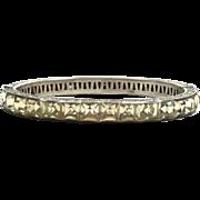 Vintage 1920s Art Deco wide sterling clamper bangle bracelet with clear stones