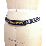 Leather and canvas Monogram logo Christian Dior Gold tone Chain Belt