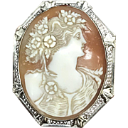 SALE Vintage 14K white gold filigree carved shell cameo with many flowers