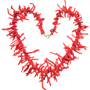 Vintage red branch coral graduated necklace