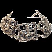 SALE Vintage 1940s sterling silver signed Cupid large bracelet