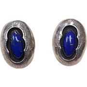 SALE Vintage sterling silver blue lapis signed Roy Begay shadowbox clip on earrings
