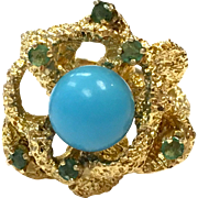 Vintage 1960s abstract modernist 14 karat gold yellow ring with emeralds and turquoise stone