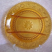 Amber Sandwich Glass Hors d' Oeuvre Snack Divided Plate