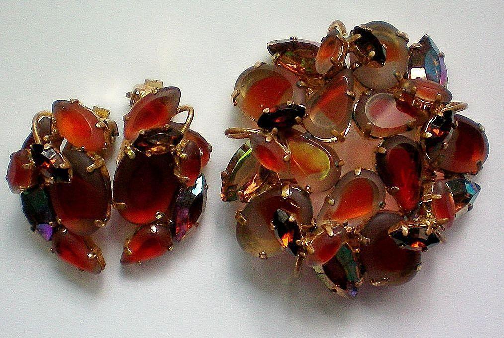 West Germany Art Glass Brooch & Clip Earrings