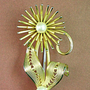 Gold Filled Pearl Flower Brooch