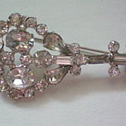 SOLD Rhinestone Brooch with Foil Backed Stones