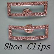 Vintage Rhinestone Shoe Clips in Rectangle Shape