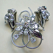Rhinestone Set of Pendant / Brooch and Clip Earrings