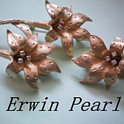 Erwin Pearl Flower Lily Set ~  Brooch & Earrings