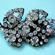 SALE Japanned  Rhinestone Leaf Brooch