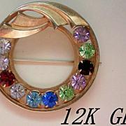 12K GE Gold Catamore Circle Brooch
