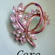 SALE CORO Brooch with Round and Marquis Cut Rhinestones