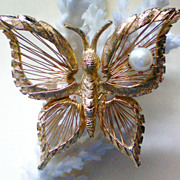 SALE Signed Brooks Wire Woven Butterfly with faux Pearl