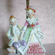 SALE Porcelain Figural Boudoir Dresser Lamp of French Figurines