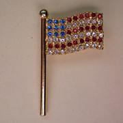 SALE American Flag Pin with Red, White, Blue Crystals