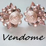 Vendome Silver Gray Beaded Earrings