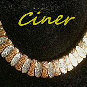 CINER Signed Choker Necklace with Pave' Diamante Crystals