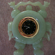 SALE Carved Jade Chinese Dragon / Elephant Clock