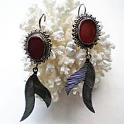 Red Jasper and Sterling Silver Dangle Earrings