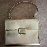 Walborg Silver Leather Rhinestone  Envelope Purse / Bag