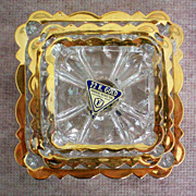 SALE 22Kt Gold Rimmed Nesting Ashtrays by Federal Glass Co.