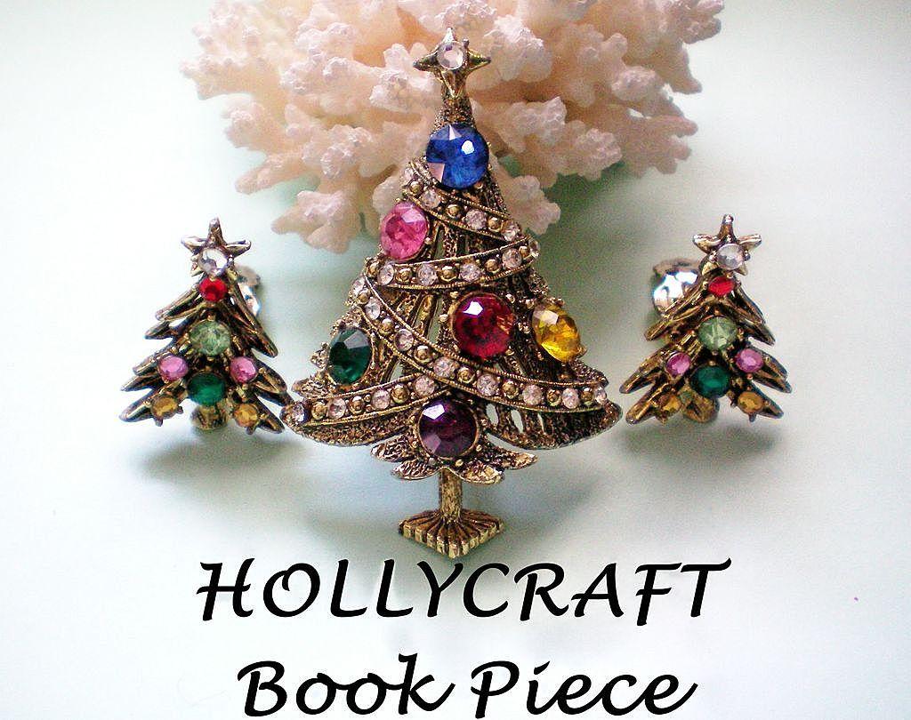 HollyCraft Book Piece - Christmas Rhinestone Ribbon Tree & Earrings