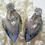 Sparkling Rhinestone and Silver Leaf Screw Back Earrings